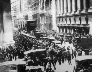Confusão na frente da bolsa em outubro de 1929